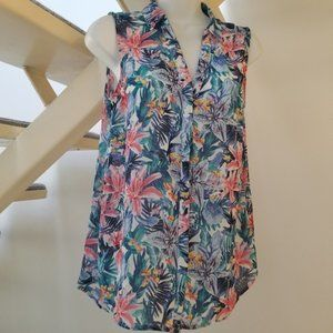 H&M Sheer Tropical Sleeveless Blouse Size 6
